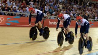 Chris Hoy, Philip Hindes and Jason Kenny in the team sprint.