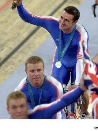 Chris Hoy with the rest of Team GB's silver at the Sydney Olympics in 2000.