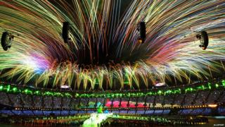 Fireworks at the London 2012 Olympics closing ceremony