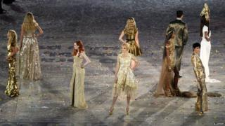 British models at London 2012 Olympics closing ceremony