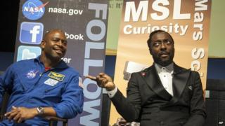 Will.i.am with a former Nasa astronaut