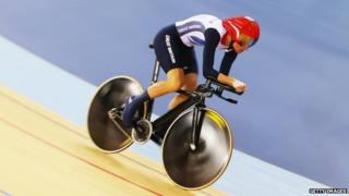 Sarah Storey on her bicycle