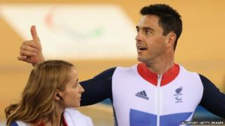 Cyclist Mark Colbourne with his physio Kirstin Henderson