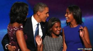 US President Barack Obama with his family