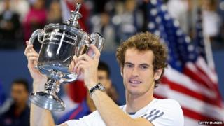 Andy Murray with US Open trophy