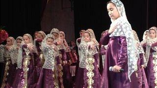 Girls perform at a concern in Grozny