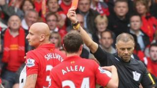 Jonjo Shelvey is shown a red card by Mark Halsey