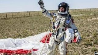 Felix Baumgartner celebrating his successful jump.