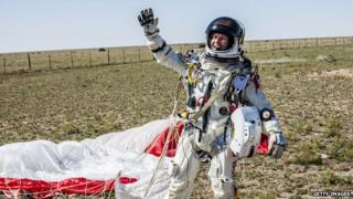 Felix Baumgartner after breaking the speed of sound by jumping from the edge of space