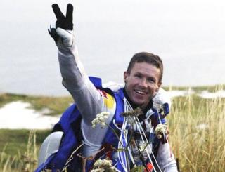 Felix celebrates as he lands in Calais