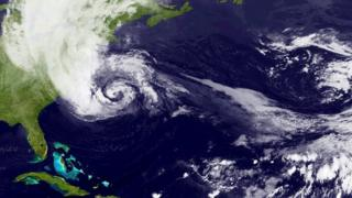 Satellite image of Hurricane Sandy, off the east coast of America