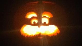 Dr Seuss's The Lorax is carved in a pumpkin