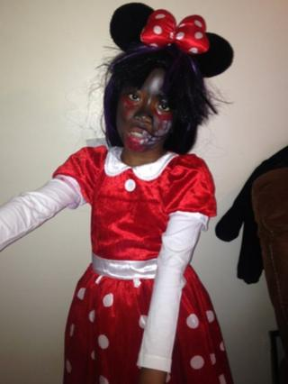 Palesa dressed as Minnie mouse zombie