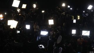 Members of the media await the results in Boston Massachusetts