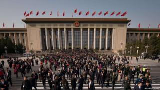 People gather at the Great Hall of the People, Beijing, 8 November 2012