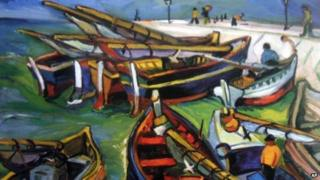 "This undated photo provided by The City of Tshwane on Monday, Nov. 12, 2012, shows a 1931 Irma Stern ""Fishing Boats"" oil on canvas."