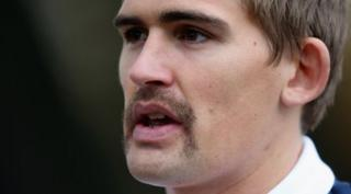 Toby Flood with movember moustache.