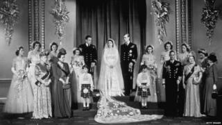 Queen and Duke at their wedding.