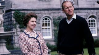 Queen Elizabeth II and Prince Philip at Balmoral, Scotland, 1972.