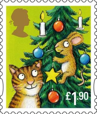 Axel Schleffer stamp showing cat with mouse in Christmas tree
