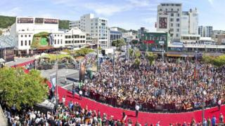 Fans surrounding the red carpet for The Hobbit: An Unexpected Journey premiere