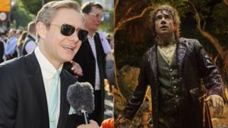 Martin Freeman on the red carpet (left) and Martin Freeman as Bilbo Baggins in a scene from the film (right)