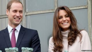 Prince William, the Duke of Cambridge, with his wife Kate Middleton, the Duchess of Cambridge, in the city of Cambridge