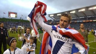 David Beckham waves goodbye to fans after the MLS Cup final