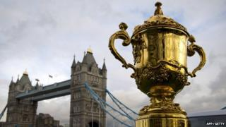 The Webb Ellis trophy, awarded to the winners of the Rugby World Cup