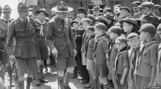 Lord Baden-Powell and scouts in 1935