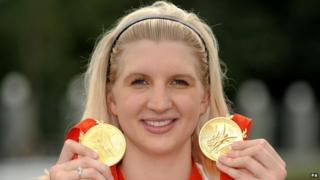 Rebecca Adlington with her Olympic medals.