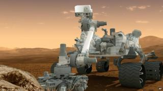 Artist's impression of the Curiosity rover on the surface of Mars.