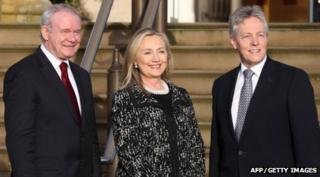 Hillary Clinton (centre) meets Northern Ireland's First Minister Peter Robinson (right) and Deputy First Minister Martin McGuinness (left)