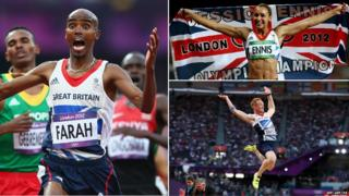Mo Farah, Jessica Ennis and Greg Rutherford