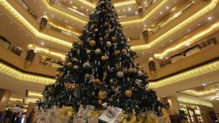 Christmas tree in Emirates hotel in Abu Dhabi
