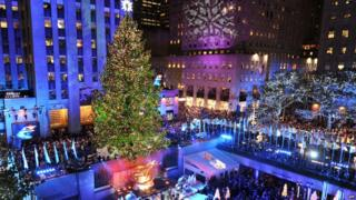 Christmas tree outside Rockefeller Centre in New York