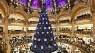 Christmas tree in Galeries Lafayette department store, Paris.
