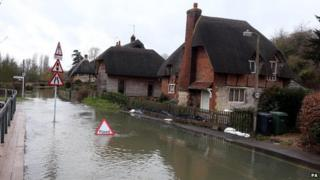 A flooded road in Clifton Hampden in Oxfordshire