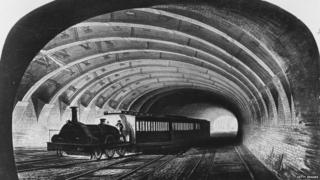 circa 1863: The first Metropolitan train on the underground line passing through Praed Street, London. (Photo by Hulton Archive/Getty Images)