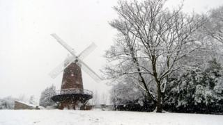 A windmill in Notingham covered in snow
