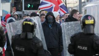 Loyalist protestors in east Belfast