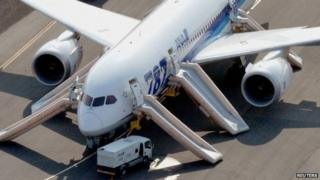 ANA Boeing 787 Dreamliner is seen after making an emergency landing at Takamatsu airport