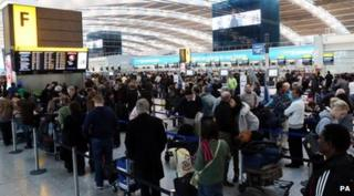 Stranded passengers at Heathrow Airport
