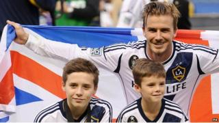 David Beckham with sons Brooklyn and Cruz