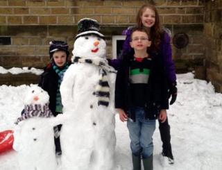 Tom, Jack and Eve from West Yorkshire are joined by two snowmen