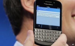 A BlackBerry smartphone with full physical keyboard