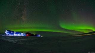 Halley VI research station and aurora