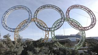 The Olympic rings on display in Sochi, Russia - host city of the 2014 Winter Olympics.