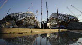 The construction site of Fisht Olympic Stadium in the Russian Black Sea resort of Sochi