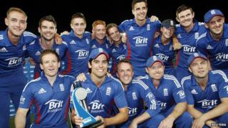 England's cricketers celebrate winning the series